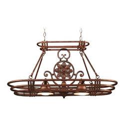 Lighted Pot Rack in Gilded Copper Finish -