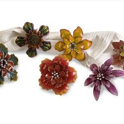"Imax Worldwide Home - Ellie Napkin Rings - Set of 6 - These festive napkin ring holders bring summer to the table and are perfect for all the summer festivities.; Country of Origin: China; Weight: 0.53 lbs; Dimensions: 3-3.5""h x 2.25-2.75""w x 3.25-4.25""d"