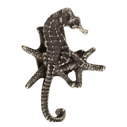 Anne at Home Hardware - Seahorse/Starfish Cluster Knob, Black w/ Chocolate Wash - Made in the USA - Anne at Home customized cabinet hardware enables even the most discriminating homeowner to achieve the look of their dreams.  Because Anne at Home cabinet hardware is designed to meet your preferences, it may take up to 3-4 weeks to arrive at your door. But don't let that stop you - having customized Anne at Home cabinet knobs and pulls are well worth the wait!   - Available in many finishes.