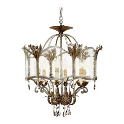Kathy Kuo Home - Spanish Revival Antique Gold Silver Ceiling Mount Chandelier - An exquisite historical design from the Winterthur Museum Archive Collection designed by the du Pont family is made breathtaking with its opulent finishes of Viejo Gold and Silver.  Smoked crystals and seeded glass lend vintage elegance to this unique pendant lamp.