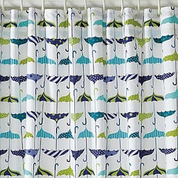 Let-It-Rain Shower Curtain - Garnet Hill - It's raining, it's pouring, um, because you're in the shower...There's no bad luck in opening these umbrellas in the house, because they are cute as all-get out and printed on this fun shower curtain.