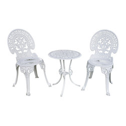 Pier Surplus - Angel White Garden Bistro Set - Table and Two Chairs for Yard, 3 Pieces #PB11118 - Imagine a lovely afternoon enjoying tea and cookies with a friend under an umbrella in the back yard... This bistro set makes it easy to experience that any time! Made from cast iron and painted English white, this bistro table comes with two chairs that have been ornately decorated. From the back splat to the cabriole-inspired legs, you will love this set's swanky look. Perfect for patios all year round.