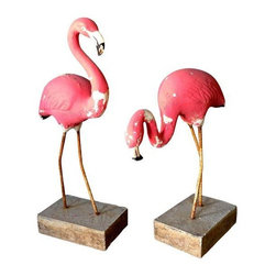 Pre-owned Vintage Concrete Flamingos - A Pair - Fantastic pair of 1950's vintage pink flamingos. Concrete with original pink paint with rebar legs. Heavy, sturdy concrete platforms.