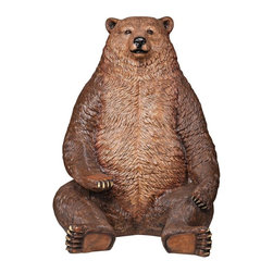 Design Toscano - Design Toscano Sitting Pretty Oversized Brown Bear Statue with Paw Seat - NE1300 - Shop for Statues and Sculptures from Hayneedle.com! Straight from the Why didn't they have anything this cool when we were kids catalog comes the Design Toscano Sitting Pretty Oversized Brown Bear Statue with Paw Seat. This massive 7-foot tall teddy bear statue cast in quality designer resin reinforced with fiberglass for extra-strength offers seating for two lucky children either on the big guy's paw or furry knee. Hand-painted and textured for greater authenticity this charismatic statue features everything from a shiny nose to a big ol' tummy that looks as if its cover with real fur! This large-scale display-quality creature would make a fine addition to any store restaurant hotel or home. It's especially good for photographers who specialize in children's photos!About Design ToscanoDesign Toscano is the country's premier source for statues and other historical and antique replicas which are available through the company's catalog and website. Design Toscano's founders Michael and Marilyn Stopka created Design Toscano in 1990. While on a trip to Paris the Stopkas first saw the marvelous carvings of gargoyles and water spouts at the Notre Dame Cathedral. Inspired by the beauty and mystery of these pieces they decided to introduce the world of medieval gargoyles to America in 1993. On a later trip to Albi France the Stopkas had the pleasure of being exposed to the world of Jacquard tapestries that they added quickly to the growing catalog. Since then the company's product line has grown to include Egyptian Medieval and other period pieces that are now among the current favorites of Design Toscano customers along with an extensive collection of garden fountains statuary authentic canvas replicas of oil painting masterpieces and other antique art reproductions. At Design Toscano attention to detail is important. Travel directly to the source for all historical replicas