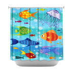 DiaNoche Designs - Shower Curtain Artistic - Happy Fish - DiaNoche Designs works with artists from around the world to bring unique, artistic products to decorate all aspects of your home.  Our designer Shower Curtains will be the talk of every guest to visit your bathroom!  Our Shower Curtains have Sewn reinforced holes for curtain rings, Shower Curtain Rings Not Included.  Dye Sublimation printing adheres the ink to the material for long life and durability. Machine Wash upon arrival for maximum softness on cold and dry low.  Printed in USA.