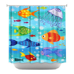 DiaNoche Designs - Happy Fish Shower Curtain - Sewn reinforced holes for shower curtain rings. Shower Curtain Rings Not Included. Dye Sublimation printing adheres the ink to the material for long life and durability. Machine Washable. Made in USA.