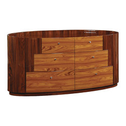 Global Furniture - Global Furniture USA New York 6-Drawer Dresser in Kokuten - The New York bedroom collection is a beautiful display of contrasting wood grains and elegant curves. The bedroom is not only stylish but it is also provides optimal storage.