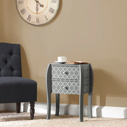 Intelligent Design - Intelligent Design Artisan Quatrefoil Bombe End Table - This paloma grey chair side bombe chest with its contemporary on trend quatrefoil pattern makes any room have just the right amount of trend appeal. Wood: Engineered Wood with Select Hardwoods Wood Finish: Paloma Gray