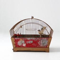 Antique Hand-Painted Birdcage - antique bird cage