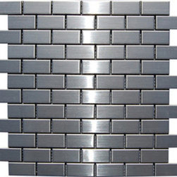 """Stainless Steel Metal Mosiac Tiles - 1 in. x 2 in. Stainless Steel Metallic Mosaic in meshed on 12"""" x 12"""" Sheet tiles for kitchen backsplash, shower walls. Each tile is approximately one square foot. These tiles can be simply cut with a household scissors into any pattern so you can use them as you like."""