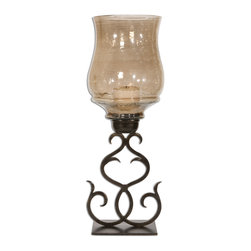 Uttermost - Sorel Metal Candleholder - Hand Forged Metal Finished In Antiqued Bronze With A Transparent, Copper Brown Glass Globe. White Candles Included.