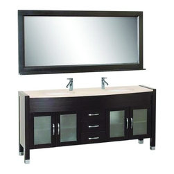"""Virtu USA 71"""" Ava - Espresso - Double Sink Bathroom Vanity - White - The Ava contemporary vanity offers modern, clean-lined sophistication and classic warmth. The vanity is made from solid oak wood with European sliders and soft closing drawers. The vanity comes with a variety of countertop options: Tempered glass, white and ivory White Artificial Stone countertops. This vanity is ideal for any transitional or modern bathrooms. http://www.tatarishop.com"""