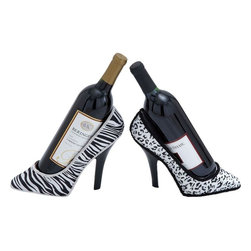 Benzara - Elegant Polystone Shoe Fabric Wine Holder - Set of 2 - Are you looking for a unique way to store or display your favorite wine bottles? If you are, this PS Fabric Wine Holder is an excellent choice of accessory. These attractive holders are crafted with fine attention to detail, ensuring a striking appearance that can complement all kinds of decors. It features a trendy, modern design that makes it a great addition to contemporary settings. The holders are shaped like shoes and offer the perfect angle to hold wine bottles, making them practical and stylish accessory for living rooms or dining rooms. These holders are made from quality material for long lasting performance. They sport a classic black and white combination in different patterns to make them suitable for incorporating in various settings.