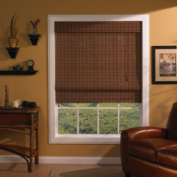 None - Rio Fruitwood Roman Shade - This great fruitwood Roman shade features woven wood for an elegant and attractive appearance for any window in your house. Offers privacy and control over lighting. The shade come in a variety of sizes and with installation hardware.