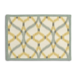 Aqua & Yellow Ikat Trellis Tailored Placemat Set - Class up your table's act with a set of Tailored Placemats finished with a contemporary contrast border. So pretty you'll want to leave them out well beyond dinner time! We love it in this classic trellis meets updated ikat in interlocking hues of soft aqua & yellow on ivory textured cotton.
