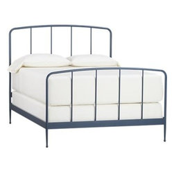 Rory Blue Full Bed - Clean, au courant styling updates the Victorian iron bed frame in modern tubular metal, minimally embellished with a gracefully arched headboard and footboard and a beautiful slate blue powdercoat finish. Foot detail on the tapered legs creates a floating effect. Mattresses and foundations available, sold separately.