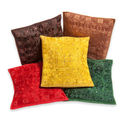 Sitara Collections LLC - Embroidered Pillow Cushion Covers with Mirrors (Set of Five) - A simple yet chic update for your favorite living space. This set of five cushion covers includes both vivid and more muted hues that blend effortlessly with your existing décor. Understated tone-on-tone patterns and tiny mirrors are subtle touches that add a luxe look and feel.