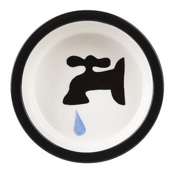 Frontgate - Tap Ceramic Dog Bowl - Made of ceramic. Appropriate for food or water. Dishwasher safe. Lead-free. A silhouette of a water faucet embellishes the inside of our Tap Ceramic Dog Bowl. It's crafted made from high-quality ceramic that is dishwasher-safe and suitable for any decor. . . . .