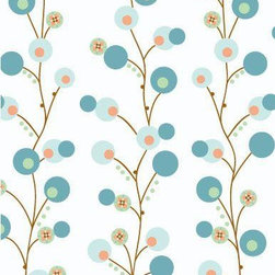 Modern Vintage Blue Twiggy Fabric - This modern vintage print brings a quaint old-school vibe up to date with these bubbly twigs. Simple yet detailed, this tan and teal fabric pairs well with contrasting prints to give you a completely customized nursery space.