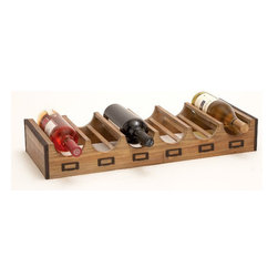 Woodland Imports Bistro 6-bottle Tabletop Wine Rack - I love that this wooden wine holder has a flat structure, making it perfect for above a refrigerator. You can also hand-stamp little labels and slip them into the label holders along the bottom.