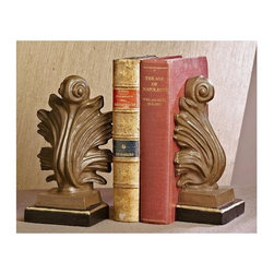 "Dessau Home - Acanthus Bookends - Set of 2 - Set of 2. Made from iron. Iron gold and bronze color. 9 in. HValue has always been an essential ingredient at Dessau Home. ""Essentials"" represents a collection of well-appointed yet affordable home furnishings with a unique traditional styling that appeals to most transitional and contemporary home decorating needs."