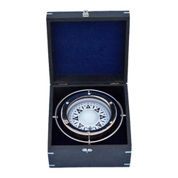 Handcrafted Nautical Decor - Chrome Gimbal Compass w/ Black Rosewood Box 9'' - The Hampton Nautical Chrome Gimbal Compass with Black Rosewood Box 9'' is a beautiful reproduction of a British compass with a modern theme and comes in a handsome chrome-inlaid hardwood box. Fully gimbaled with a chrome gimbal set, the boxed compass is a beautiful addition to any nautical collection or executive's desk. ----The case is made out of a high quality smooth hardwood with a black finish. The rosewood box has one clasp and a chrome filling of the Hampton Nautical anchor and rope logo on the top of the case.---- ----    Polished chrome housing for compass--    Remains level with double-gimbaled design      for accurate readings--    Black rosewood box lined with blue felt to store      compass--    Chrome anchor emblem inset in the face of the black rosewood box--    Custom engraving/photo etching available: Logos,   pictures, or slogans can be easily put on any item. Typical minimum   custom order is 100+ pieces. Minimum lead-time to produce and engrave is   4+ weeks.----