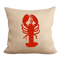 Fiber and Water - Red Lobster - A bright & nautical depiction of a Coral Reef. Hand-pressed onto natural burlap using water-based inks.