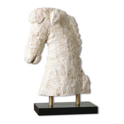 Uttermost - Coral Horse Sculpture - Aged ivory finish with pale peach highlights and light brown glaze. Base is matte black.