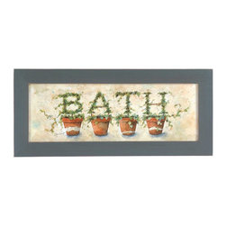 The Renovators Supply - Prints Crackle Wood Ivy Topiary Print 8 1/2'' H x 19 1/2'' W | 14263 - Print in wood frame. These prints feature ivy bath topiary. Solid wood distressed antique green and cream undertones painted frame. Artist is Annie LaPoint. Measures 8 1/2 inch High x 19 1/2 inch Wide.