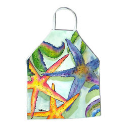 Caroline's Treasures - Starfish Apron - Apron, Bib Style, 27 in H x 31 in W; 100 percent  Ultra Spun Poly, White, braided nylon tie straps, sewn cloth neckband. These bib style aprons are not just for cooking - they are also great for cleaning, gardening, art projects, and other activities, too!