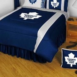 Sports Coverage - NHL Toronto Maple Leafs Bedding - Sidelines Comforter and Sheet Set Combo - Full - This is a great NHL Toronto Maple Leafs Bedding Comforter and Sheet set combination! Buy this Microfiber Sheet set with the Comforter and save off our already discounted prices. Show your team spirit with this great looking officially licensed Comforter which comes in new design with sidelines. This comforter is made from 100% Polyester Jersey Mesh - just like what the players wear. The fill is 100% Polyester batting for warmth and comfort. Authentic team colors and logo screen printed in the center.   Microfiber Sheet Hem sheet sets have an ultrafine peach weave that is softer and more comfortable than cotton.  Its brushed silk-like embrace provides good insulation and warmth, yet is breathable.  The 100% polyester microfiber is wrinkle-resistant, washes beautifully, and dries quickly with never any shrinkage. The pillowcase has a white on white print beneath the officially licensed team name and logo printed in vibrant team colors, complimenting the NEW printed hems. The Teams are scoring high points with team-color logos printed on both sides of the entire width of the extra deep 4 1/2 hem of the flat sheet.  Includes:  -  Flat Sheet - Twin 66 x 96, Full 81 x 96, Queen 90 x 102.,    - Fitted Sheet - Twin 39 x 75, Full 54 x 75, Queen 60 X 80,    -  Pillow case Standard - 21 x 30,    - Comforter - Twin 66 x 86, Full/Queen 86 x 86,