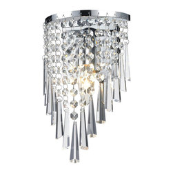 One Light Crystal Chrome Bathroom Sconce - Glittering crystal, draped perfectly over the chrome fixture, allows for a statement of unstrained elegance on this one light fixture.