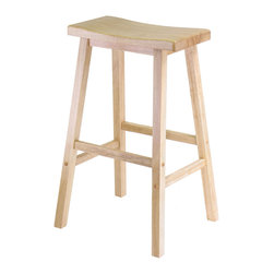 Winsome - Saddle Seat 29 in.  Stool - Beech - Contemporary Saddle Seat 29 in. wood counter height stools in natural wood finish. Solid wood construction of natural hardwood. Ships ready to assemble with all hardware and tools included. This new style seat is comfortable and sleek.