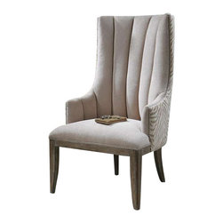 """Uttermost Zyla Chenille ArmChair - Almond beige chenille channel back surrounded by animal stripes in coordinating neutrals and outlined by matte champagne accent nails.  Solidly constructed in pine and select hardwoods with reinforced joinery and washed in a light tan, rubbed finish. Almond beige chenille channel back surrounded by animal stripes in coordinating neutrals and outlined by matte champagne accent nails. Solidly constructed in pine and select hardwoods with reinforced joinery and washed in a light tan, rubbed finish. Seat height is 20""""."""