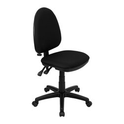 Flash Furniture - Mid-back Black Fabric Multi-functional Task Chair with Adjustable Lumbar Support - Articulating the sophistication of European styling/ along with the functionality of a multi-positional chair/ this computer task chair from Flash Furniture is sure to please. Employing a unique adjustable lumbar support system/ customizable to the specifications of almost anyone/ the user can be assured of a comfortable experience not usually found in most economic task chairs. This comfort level is attained simply by supporting the natural curvature of the user's spine near the small of the back - right at the point where most people experience lower back pain. Featuring/ in addition to the adjustable lumbar support/ a standard seat height adjustment/ and asynchronous locking back angle adjustment mechanism/ we are certain that this task chair will be the perfect fit.