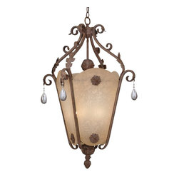Designers Fountain - Designers Fountain San Mateo Traditional Foyer Light X-OA-8419 - This lantern designed Traditional Foyer Light that is one of a kind. It is completely charming, romantic and fairy tale like. The ironwork is smoothly scrolled with a hand painted Ancient Oak finish. The leaf details and the playful beaded crystal drops create a gorgeous design for one exquisite lighting piece.