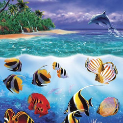 Murals Your Way - Tropical Fish Island 2 Wall Art - The quiet cove of a tropical island makes a home for a variety of colorful fish in this wall mural