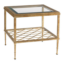 Lexington - Lexington St. Tropez Sanremo Bunching Cocktail Table 339-944 - Use as a single table, or bunch multiple tables in a grouping. The gold burnished decorative metal base has an open shelf with gold balls at each intersection and visible through the beveled glass inset top. Versatile yet elegant.