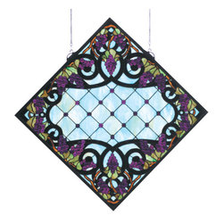 "Meyda - 25.5""W X 25.5""H Jeweled Grape Stained Glass Window - Radiant concord purple jewels, vineyard green leavesand glistening dew kissed bark brown vines wrap aroundebony bands on a diamond grid of clear seeded glass.bring sunny vineyards to your own home with this lovelymeyda tiffany original stained glass window, made with368 pieces of hand cut stained glass and 213 jewels. Asolid brass hanging bracket and chains are included."