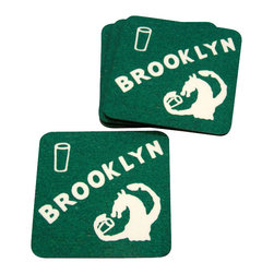 Cool Culinaria - Brooklyn Coasters (Set of 4) 1930s Cocktail Menu Art, Green - Artwork adapted from the original 1930s Cold Spring NY Menu Art. Set of four cork-back coasters (blue or green) with a wipe clean hard wearing gloss-finish surface. Made in USA.