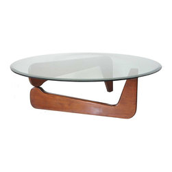 American Noguchi Style Mid-Century Modern Glass Top Coffee Table - Ref: T2929
