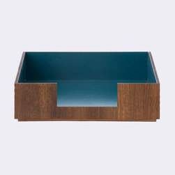 Forest Stack Paper Tray in Blue - Keeping track of your important papers can be taxing. You need somewhere reliable to store notes, bills, and all the other papers you can't lose but aren't sure where to put. A functional piece of beautiful décor, this desk organizer is made of smoked oak veneer with a deep blue interior.