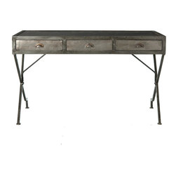 Flint Iron Campaign Desk - Make a wall of your living room serve a purpose both practical and decorative or add a sense of time to your study with the Flint Iron Campaign Desk, a writing table that looks to the charming, harmonious simplicity of Napoleonic pieces but presents their structure in antiqued natural iron for a grave, high-impact finish.  Three drawers and a level writing surface enhance this transitional desk's use.