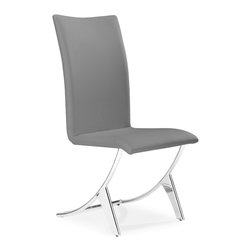 Zuo - Delfin Dining Chair Sold as Set of 2, Gray - Comfortable and well-designed, the Delfin dining chair has a slim silhouette that also defines comfort.  It sits on chromed steel tube frame that has a slight reclining motion. A sleek chair for a great meal and comfy enough for after dinner conversation. Available in black or white. Sold as a set of two (package cannot be broken).