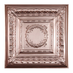 """Empire Ceiling Tile - Faux Copper - Perfect for both commercial and residential applications, these tiles are made from thick .03"""" vinyl plastic. Their lightweight yet durable construction make these tiles easy to install. Waterproof, these tiles are washable and won't stain due to humidity or mildew. A perfect choice for anyone wanting to add that designer touch at an amazing price."""