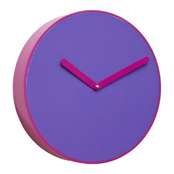 Progetti - BE 1970 Purple Wall Clock - Wall clock made in wood and PVC. Battery quartz movement.