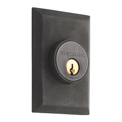Nostalgic Warehouse - New York Double Cylinder Deadbolt Keyed Differently, Oil-Rubbed Bronze - The clean lines and tailored style of the New York Double Cylinder Deadbolt in oil-rubbed bronze have a distinct look that will last for years. Keyed differently. Made of solid (not plated) forged brass for durability and beauty.