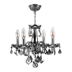 Worldwide Lighting - Worldwide Lighting W83100C16-CH Clarion 4-Light Chrome Crystal Chandelier - Worldwide Lighting W83100C16-CH Clarion 4-Light Chrome Finish with Chrome Crystal Chandelier