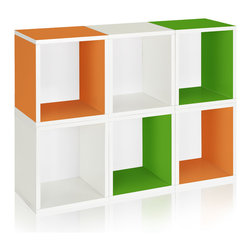 Way Basics - Modular Storage Cubes Plus, Green, Orange, White - These versatile storage cubes are a breeze to assemble: just peel the adhesive strips and stick them together. No tools or hardware needed! Each package contains six cubes, which can be assembled in any configuration you desire, and with your choice of several colors. No formaldehyde or VOCs, so they're safe for your family and the environment.