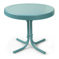 Crosley Furniture - Crosley Furniture Retro Round Metal 20x20 Side Table in Caribbean Blue - Relax outside for hours on our nostalgically inspired metal outdoor furniture. Set down your glass of iced tea on this sturdy steel side table, designed to withstand the hottest of summer days and other harsh conditions.